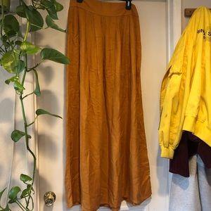 mustard high waisted flowy maxi skirt